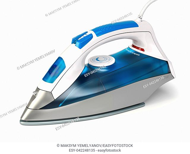 Steam iron isolated on white background. 3d illustration
