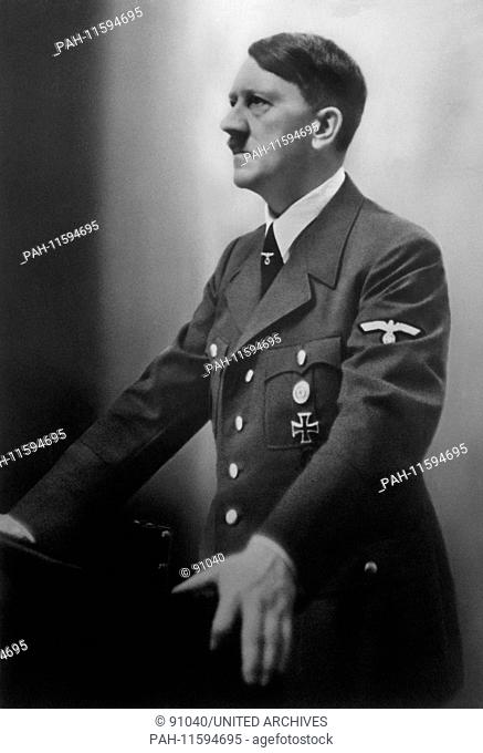 A portrait of Adolf Hitler from the 1930s. He was born on the 20th of April in 1889 in Branau am Inn, Austria and committed suicide on the 30th of April in 1945...