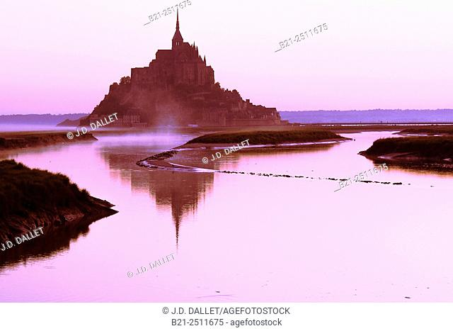 Couesnon river and Mont Saint Michel, Manche, Normandy, France