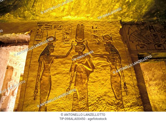 Africa, South Egypt, Abu Simbel, Nefertari temple, interior
