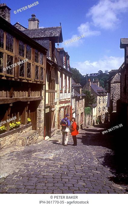 Picturesque street of half timbered buildings in the Old Town of Dinan