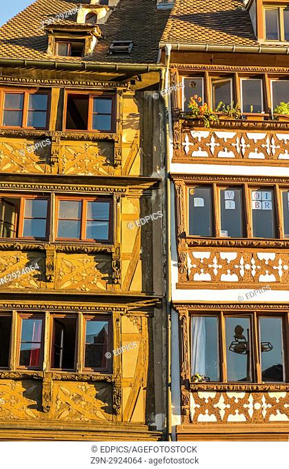 historic facades of half-timbered houses at quai st nicolas, ,strasbourg, alsace, Bas-Rhin, France