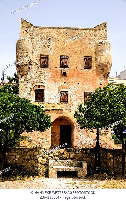 Old castle tower on Aegina island, Greece, Europe
