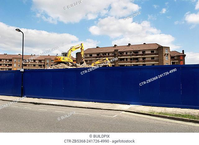 Demolishing postwar housing estates, Hackney Borough, East London, UK