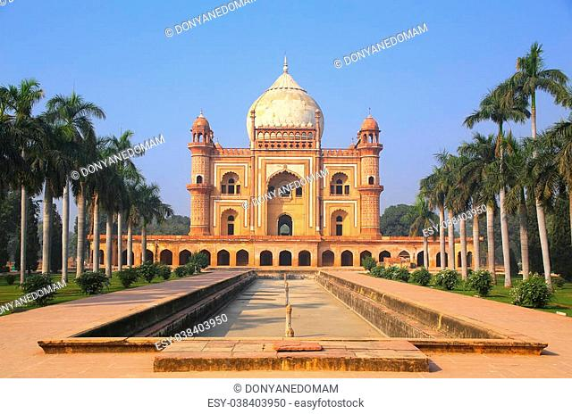 Tomb of Safdarjung in New Delhi, India. It was built in 1754 in the late Mughal Empire style