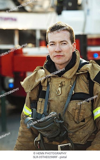 Firefighter wearing gear