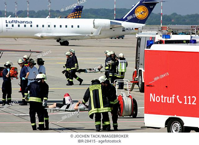 DEU, Germany, Duesseldorf: Emergency exercise at the Duesseldorf International airport