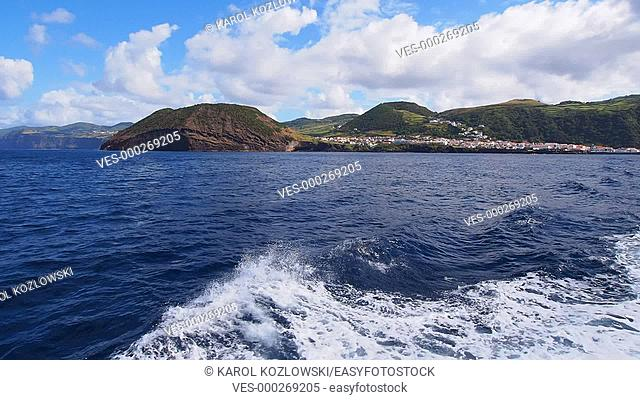 Ferry leaving Velas – main port on Sao Jorge Island – view from the ferry, Azores, Portugal