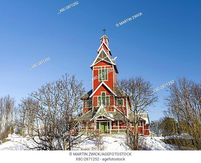 Church Buksnes kirke, island Vestvagoy. The Lofoten islands in northern Norway during winter. Europe, Scandinavia, Norway, February