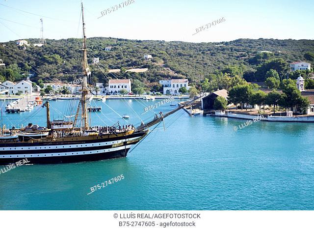 Italian training ship Amerigo Vespucci (A 5312) in the port of Mahó, Minorca, Balearic Islands, Spain