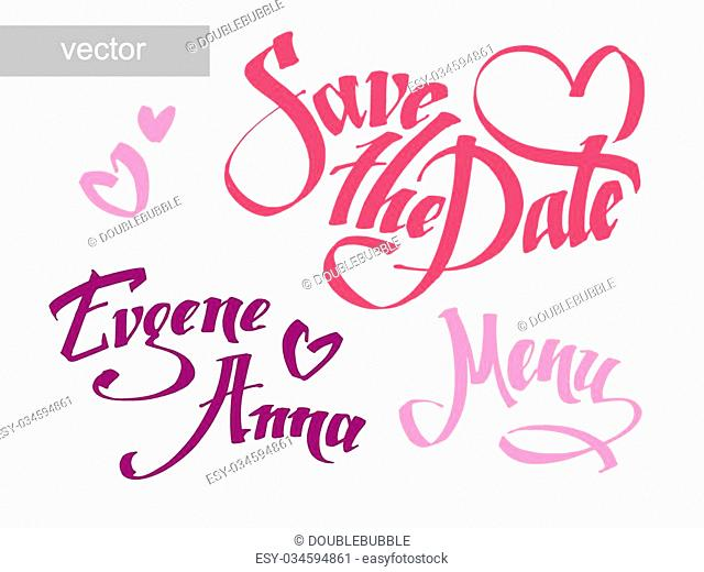 Save the date calligraphy. Vector set for invitation cards. Wedding collection. Design invitation templates. Vector illustration