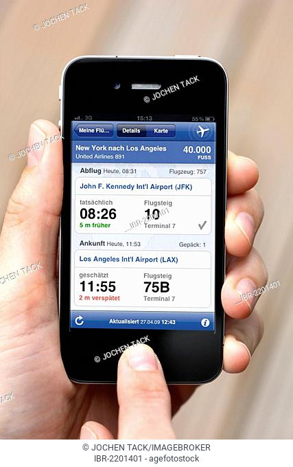 Iphone, smart phone, app on the screen, departures, arrivals, and flight connections