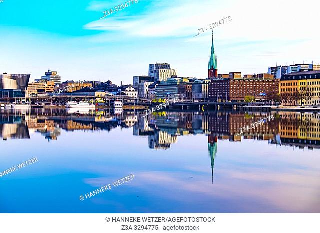 Reflection of the Old Town of Stockholm in the water