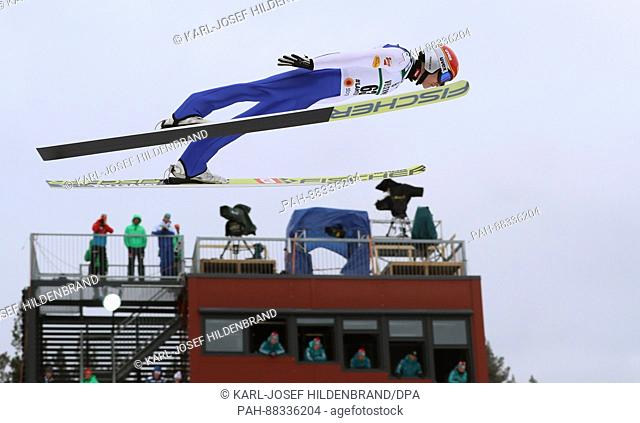 The nordic skiing combined athlete Mario Seidl from Austria during a training session on the normal ski jump at the Nordic Skiing World Championships in Lahti