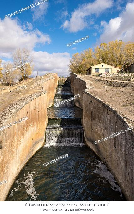 Canal de Castilla, famous Landmark in Fromista, Palencia, Castilla y Leon, Spain