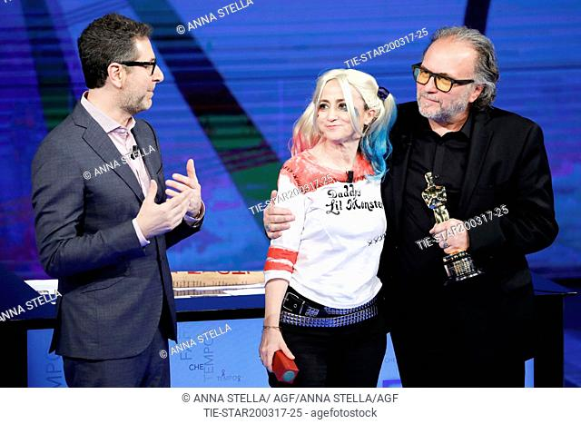 Fabio Fazio, Luciana Littizzetto, Alessandro Bertolazzi, winner Academy Award 2017 make up film Suicide squad  during the tv show Che tempo che fa, Milan