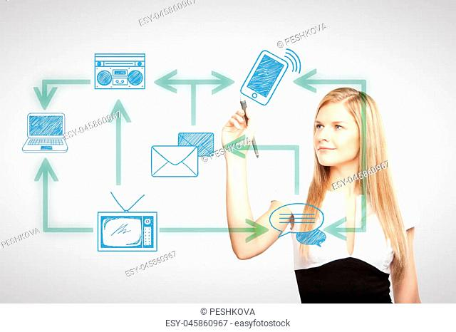 European businesswoman drawing abstract technology network on light background. Communication concept