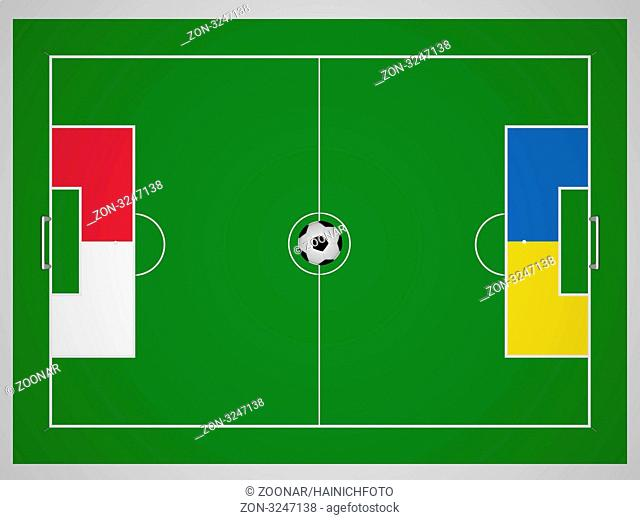 Football field from above with the colors of Poland and the Ukraine