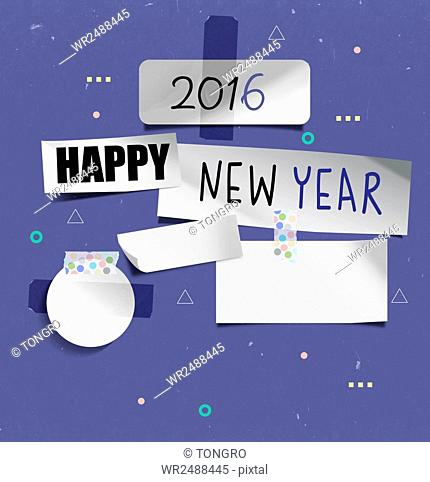Background of new year 2016 with typographical numbers and message on attatched papers