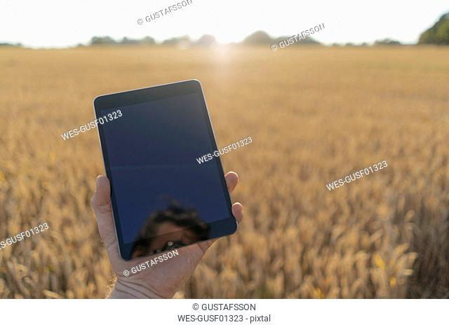 Close-up of man in a field holding phablet
