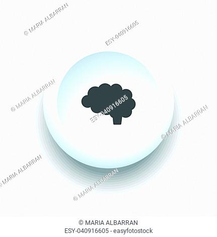 Brain icon on a white 3D button illustration