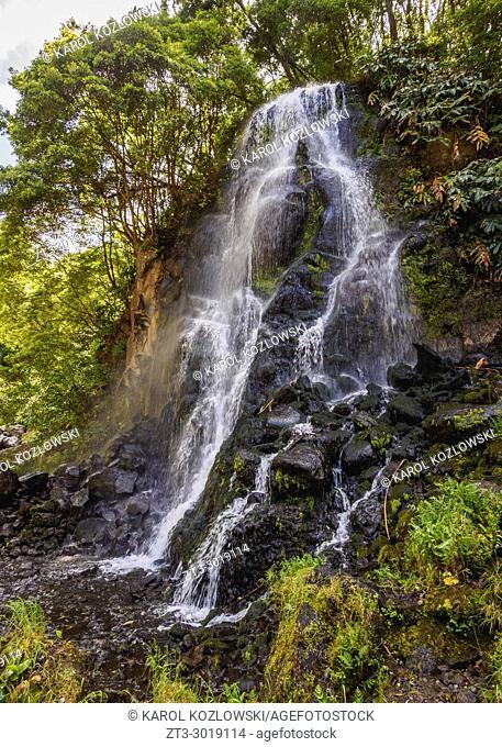 Waterfall in Ribeira dos Caldeiroes Natural Park, Nordeste, Sao Miguel Island, Azores, Portugal