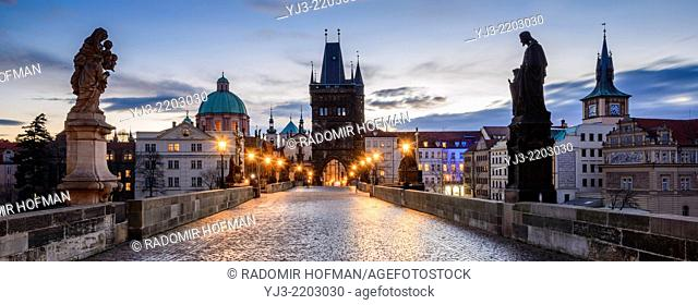 Prague from Charles Bridge at dawn, Czech Republic