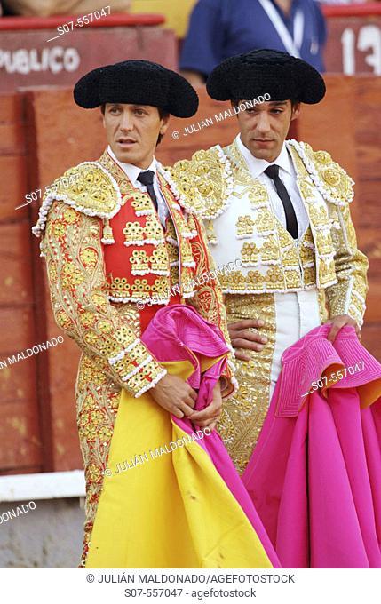 Spanish bullfighters Antonio Barrera (left) and Luis Miguel Vazquez (right) at bullring, Almagro. Ciudad Real, Spain (August 16, 2006)
