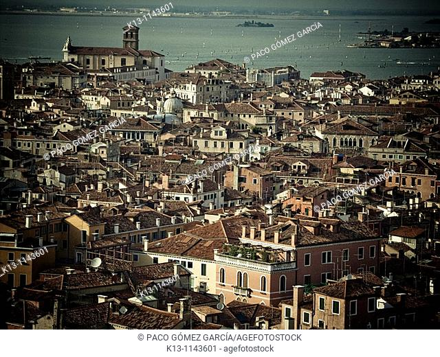 View over the roofs of Venice from the campanile  Venice  Italy