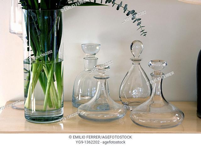 Glass Bottles on a table  Girona  Spain