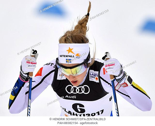 Swedish athlete Stina Nilsson in action at the 2017 Nordic World Ski Championships in Lahti, Finland, 23 February 2017. Photo: Hendrik...