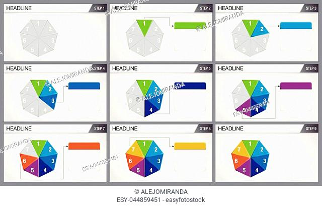 Heptagon shaped pie divided into 7 equal parts are illuminated in sequence on white background. Elements for info graphics, use in presentation