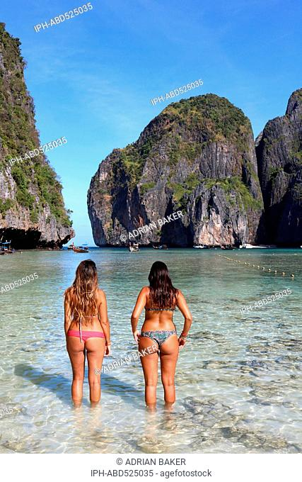 Thailand Krabi Phi Phi Islands Koh Phi Phi Leh Maya Bay made popular because of it's use as location for the film The Beach starring Leonardo Dicaprio