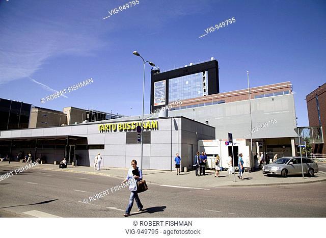 ESTONIA, TARTU, 24.07.2008, Bus terminal in Tartu. - TARTU, ESTONIA, 24/07/2008