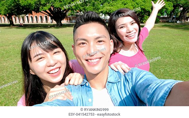 student smile and selfie happily in the school