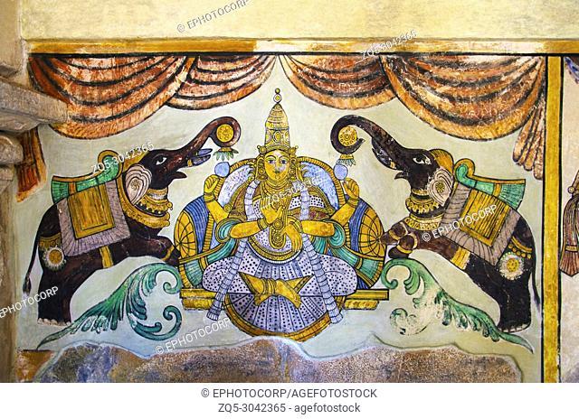 Colorful paintings on the inner wall of the Brihadishvara Temple, Thanjavur, Tamil Nadu, India. Hindu temple dedicated to Lord Shiva