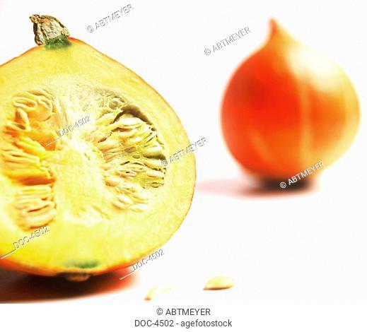 Half a and a whole pumpkin