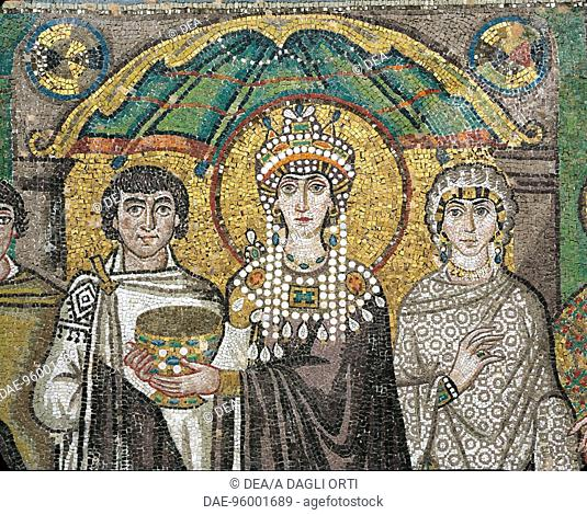 A dignitary, the sovereign Theodora and Antonina, Belisarius' wife, detail from Theodora with her entourage, mosaic, south wall of the apse