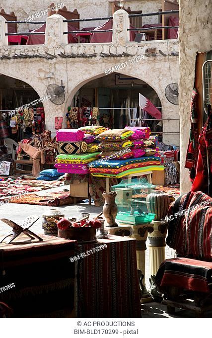 Fabrics for sale at Doha market
