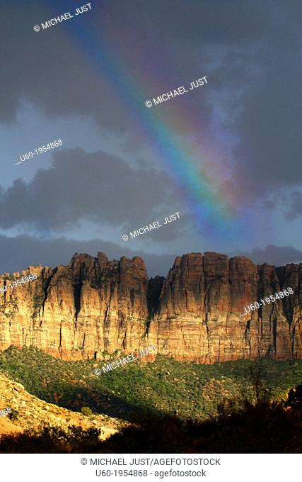 A rainbow is formed after a rainstorm at Zion National Park, Utah