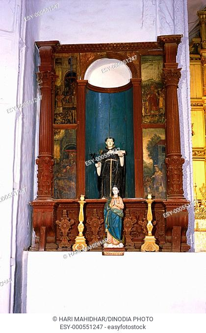 Statues in Our Lady of Rosary cathedral , Old Goa , India