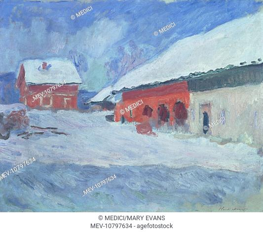 Norvège, les maisons rouges à Björnegaard' – Norway, red houses in the snow