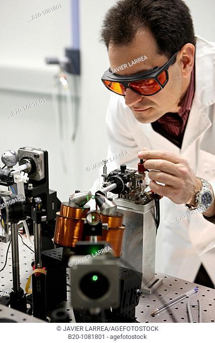 Adjusting the sample position for magnetic property measurements, Deposition laboratory, CIC nanoGUNE, Nanoscience Cooperative Research Center, San Sebastian