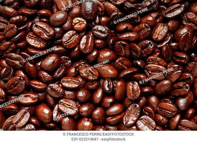 bounch of cfoffee beans close-up
