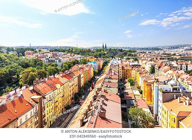 Prague roofs, view from the bridge in Czech Republic