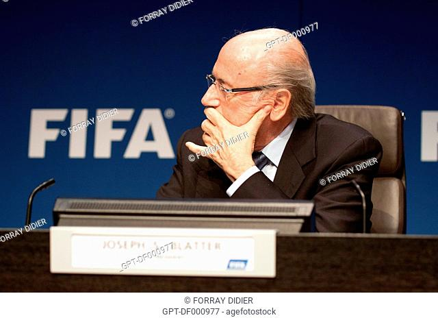 PROFILE OF JOSEPH SEPP BLATTER WEARING GLASSES MADE BY MERCEDES DURING A PRESS CONFERENCE AT THE FIFA HEADQUARTERS, INTERNATIONAL FOOTBALL FEDERATION, ZURICH