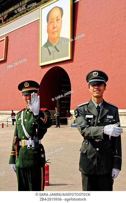 Policemen at the gate of the Forbidden City, Beijing, China, Asia