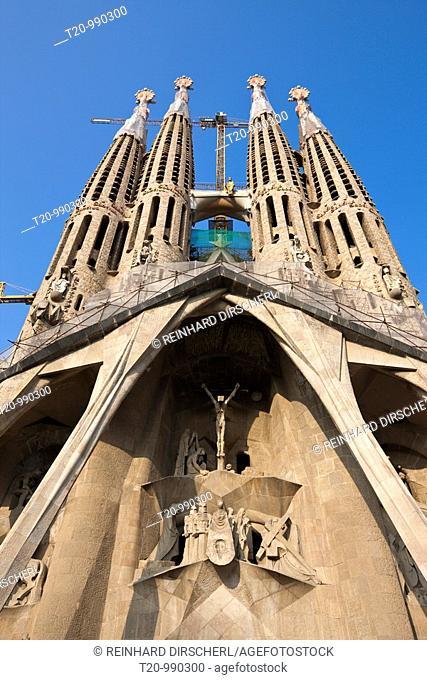 Passion Facade of Cathedrale La Sagrada Familia of Architect Antoni Gaudi, Barcelona, Catalonia, Spain
