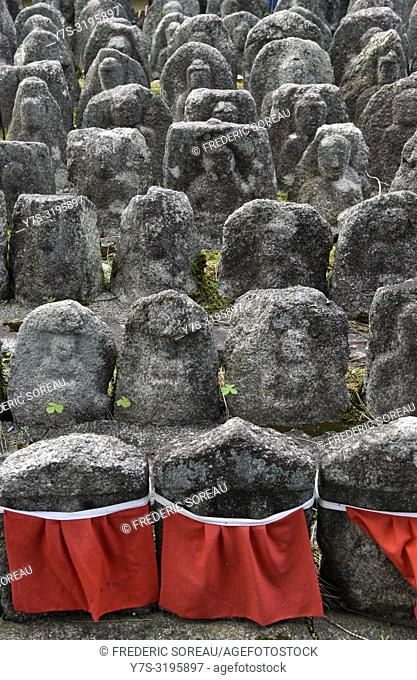 Ancient jizo statues at famous Daitokuji temple, buddhist zen temple of Rinzai school, Kyoto, Japan, Asia