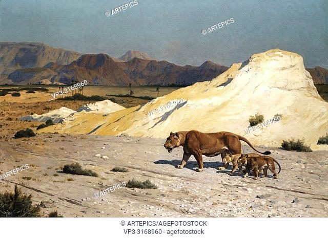 Gerome Jean-Léon - Lioness and Cubs